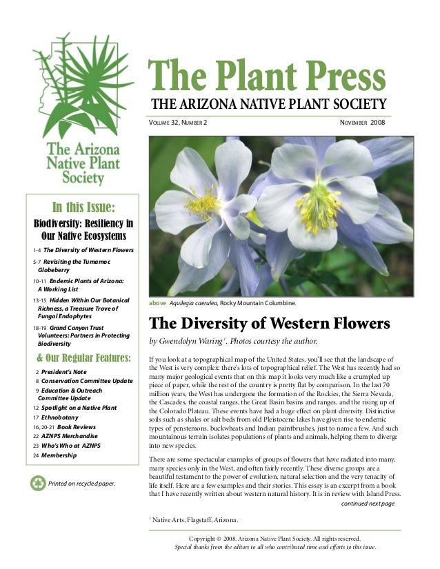 The Plant PressTHE ARIZONA NATIVE PLANT SOCIETY VOLUME 32, NUMBER 2 NOVEMBER 2008 continued next page Printed on recycled ...
