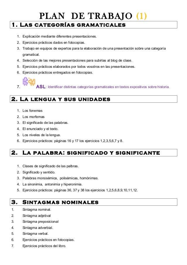 PLAN DE TRABAJO (1) 1. Las categorías gramaticales 1. Explicación mediante diferentes presentaciones. 2. Ejercicios prácti...