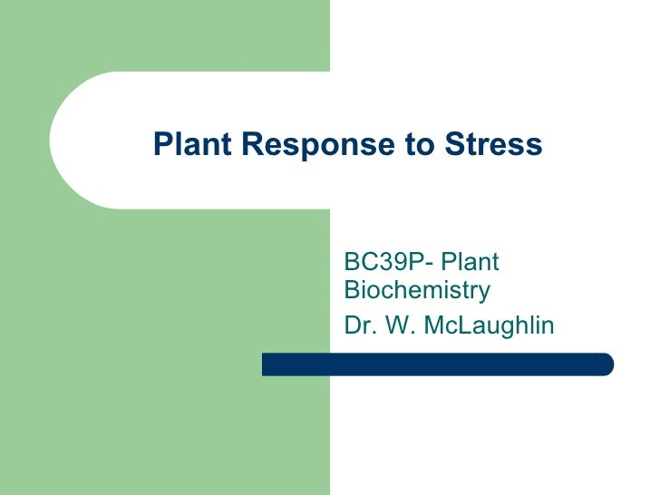 Plant Response to Stress BC39P- Plant Biochemistry Dr. W. McLaughlin
