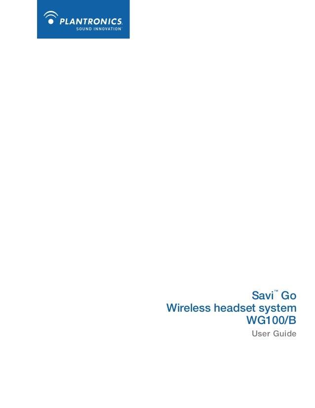 Plantronics Savi Go Wg100 Convertible Bluetooth Headset User Guide