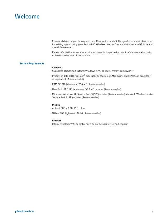Plantronics savi w740 user guide