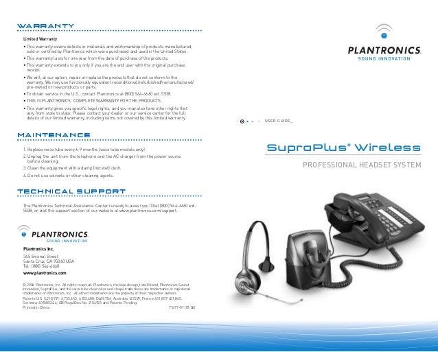 plantronics supraplus wireless user guide rh slideshare net Plantronics Headset User 1C V8 2
