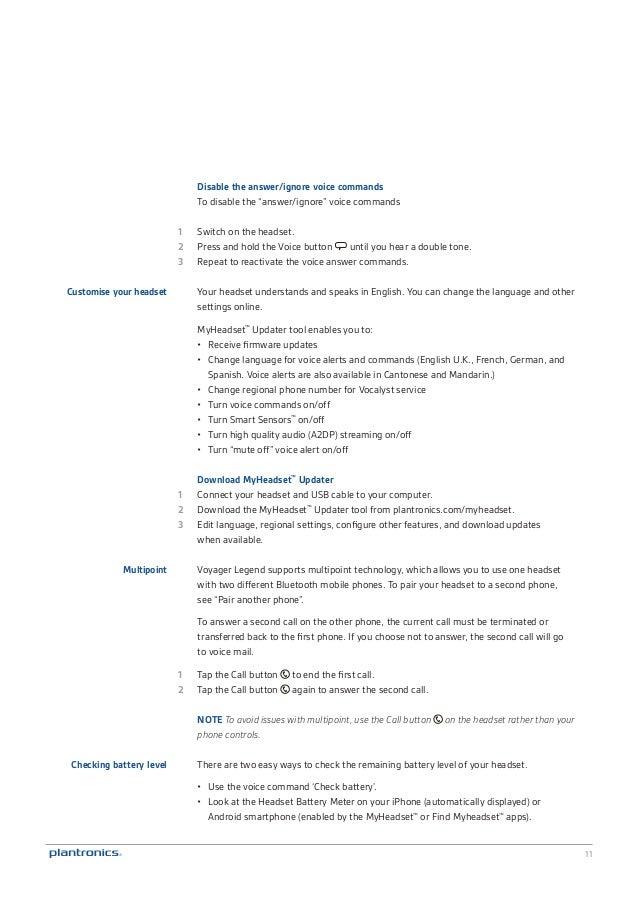 Plantronics Voyager Legend Uc User Guide