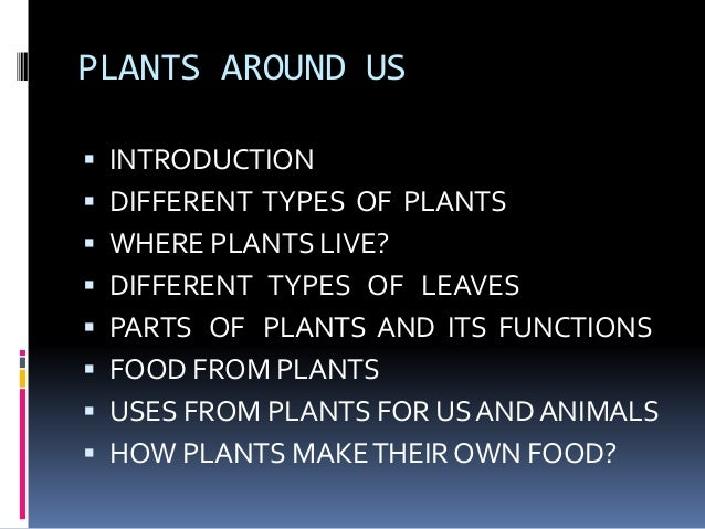 PLANTS AROUND US   INTRODUCTION   DIFFERENT TYPES OF PLANTS   WHERE PLANTS LIVE?   DIFFERENT TYPES OF LEAVES   PARTS ...