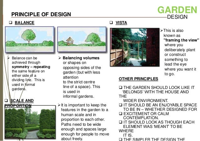 Landscape design for Garden design principles