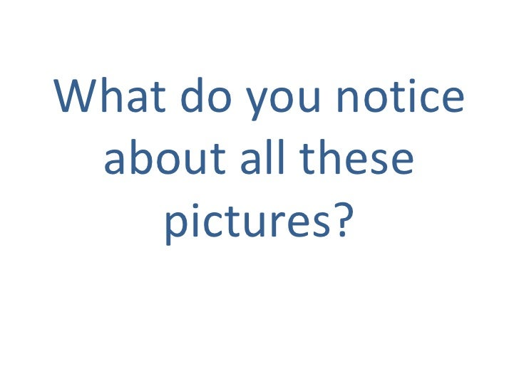 What do you notice about all these pictures?  <br />