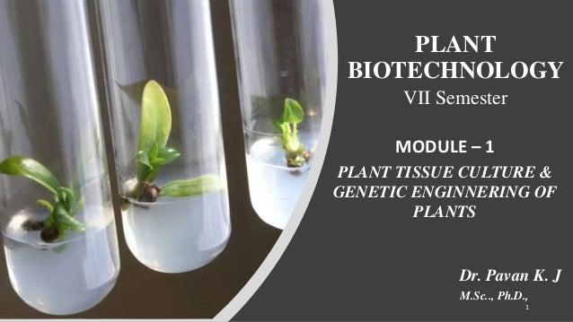 PLANT BIOTECHNOLOGY VII Semester MODULE – 1 PLANT TISSUE CULTURE & GENETIC ENGINNERING OF PLANTS Dr. Pavan K. J M.Sc.., Ph...
