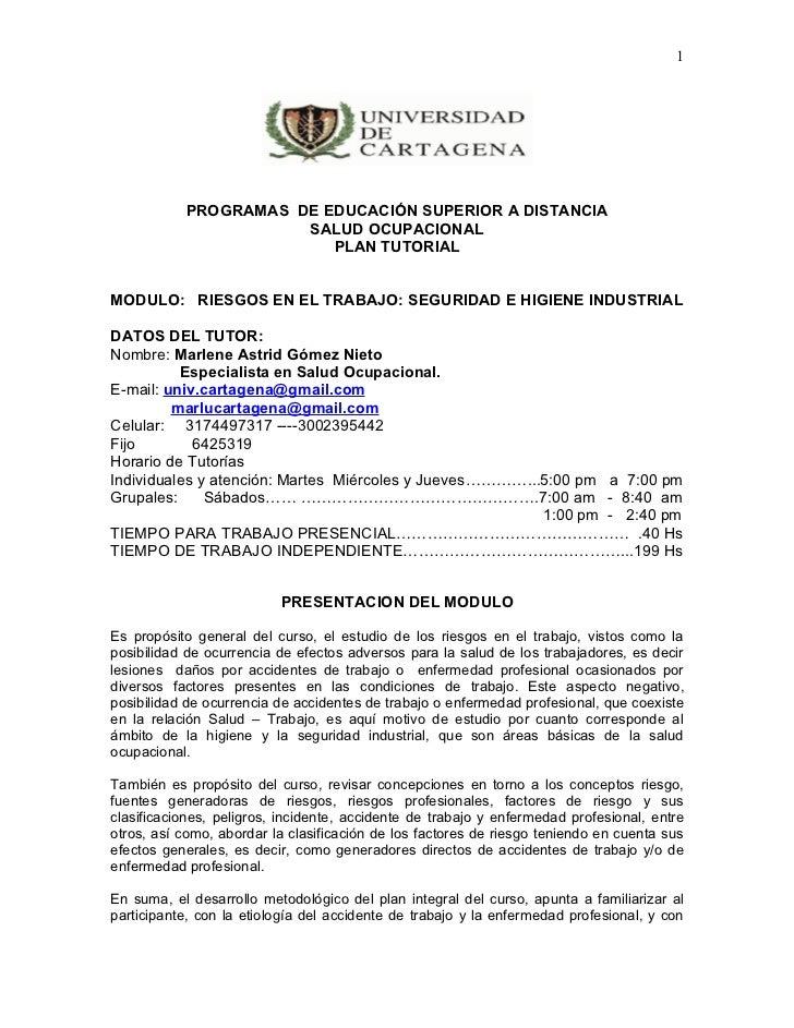 1           PROGRAMAS DE EDUCACIÓN SUPERIOR A DISTANCIA                      SALUD OCUPACIONAL                         PLA...