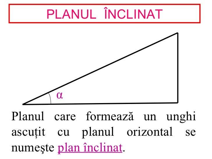 PLANUL ÎNCLINAT       αPlanul care formează un unghiascuţit cu planul orizontal senumeşte plan înclinat.