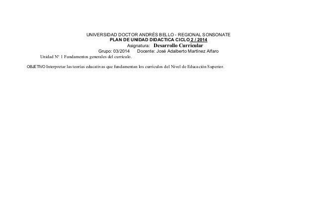 UNIVERSIDAD DOCTOR ANDRÉS BELLO - REGIONAL SONSONATE  PLAN DE UNIDAD DIDACTICA CICLO 2 / 2014  Asignatura: Desarrollo Curr...
