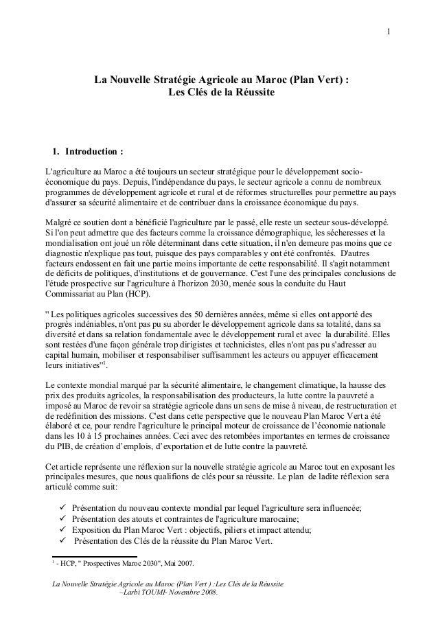 1                 La Nouvelle Stratégie Agricole au Maroc (Plan Vert) :                                Les Clés de la Réus...