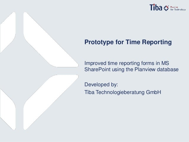 1© Tiba Technologieberatung GmbH Prototype for Time Reporting Improved time reporting forms in MS SharePoint using the Pla...