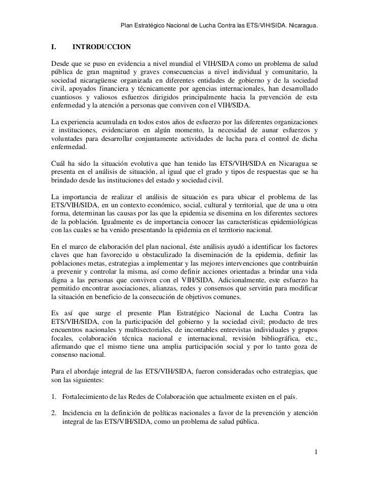 Plan Estratégico Nacional de Lucha Contra las ETS/VIH/SIDA. Nicaragua.I.     INTRODUCCIONDesde que se puso en evidencia a ...