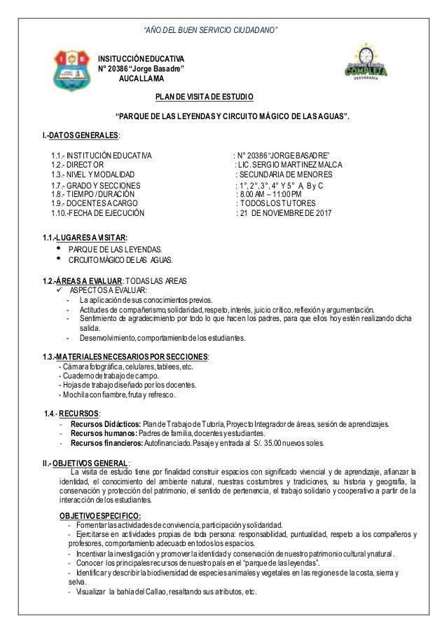 """""""AÑO DEL BUEN SERVICIO CIUDADANO"""" INSITUCCIÓNEDUCATIVA N° 20386""""JorgeBasadre"""" AUCALLAMA PLANDE VISITADE ESTUDIO """"PARQUE DE..."""