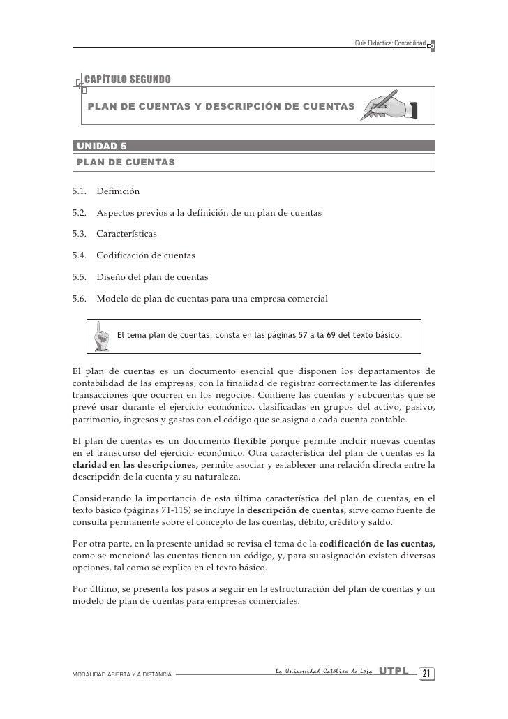 Guía Didáctica: Contabilidad       CAPÍTULO SEGUNDO         PLAN DE CUENTAS Y DESCRIPCIÓN DE CUENTAS     UNIDAD 5  PLAN DE...