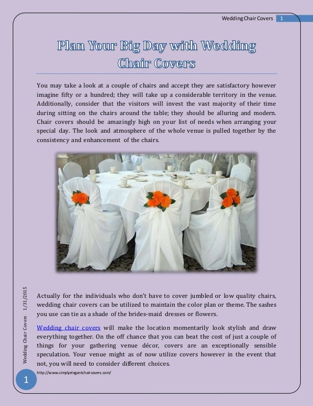 Plan Your Big Day With Wedding Chair Cover