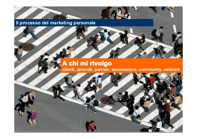 Il processo del marketing personale  A chi mi rivolgo clienti, aziende, partner, associazioni, community, network  Stefano...