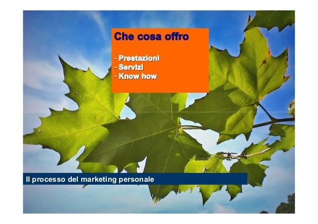 Che cosa offro - Prestazioni - Servizi - Know how  Il processo del marketing personale  Stefano Principato