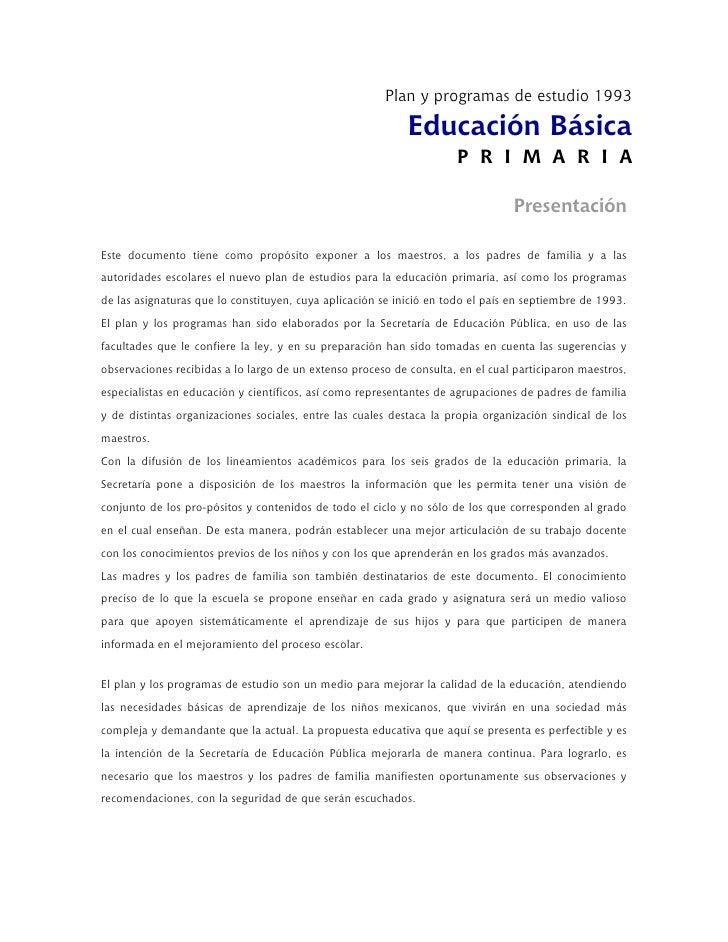 Plan y programas de estudio 1993                                                            Educación Básica              ...