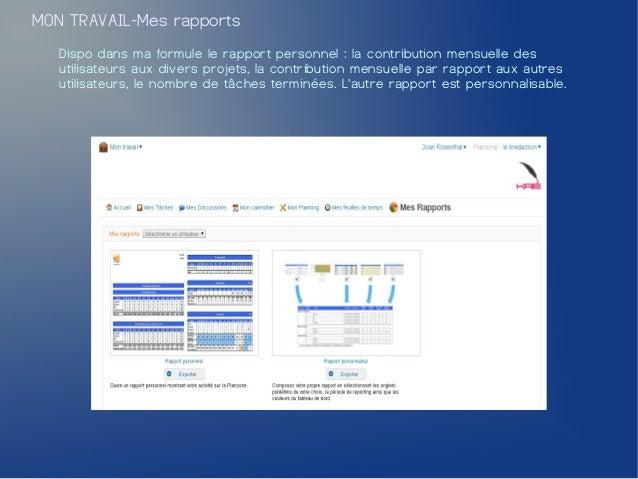 MON TRAVAIL-Mes rapports   Dispo dans ma formule le rapport personnel : la contribution mensuelle des   utilisateurs aux d...