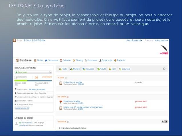 LES PROJETS-La synthèse   On y trouve le type de projet, le responsable et léquipe du projet, on peut y attacher   des mot...