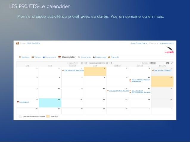 LES PROJETS-Le calendrier   Montre chaque activité du projet avec sa durée. Vue en semaine ou en mois.