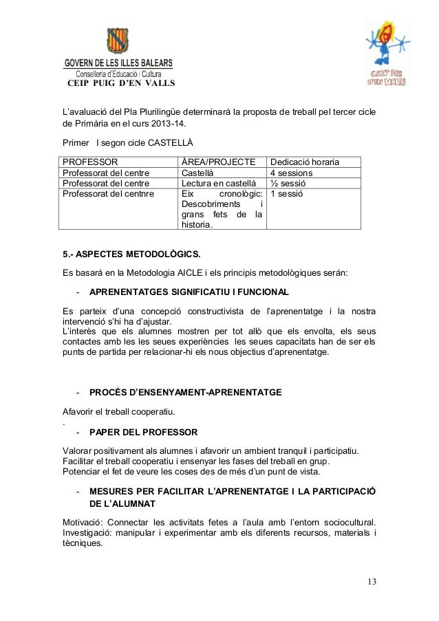 CEIP PUIG D'EN VALLS L'avaluació del Pla Plurilingüe determinarà la proposta de treball pel tercer cicle de Primària en el...