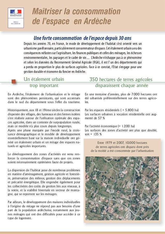 Maîtriser la consommation                   de l'espace en Ardèche                    Une forte consommation de l'espace d...