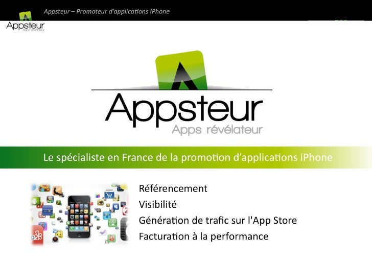 Promotion Applications iPhone : Présentation Appsteur