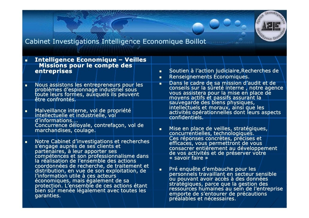 Plaquette A2ie Cabinet Investigations Intelligence Economique Boillot 2010