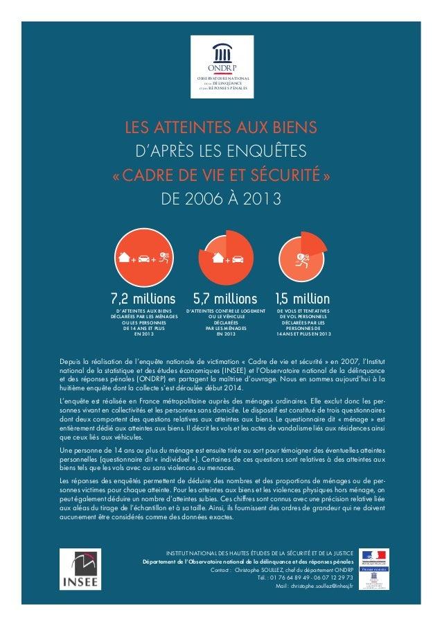 5,7 millions D'ATTEINTES CONTRE LE LOGEMENT OU LE VÉHICULE DÉCLARÉES PAR LES MÉNAGES EN 2013 1,5 million DE VOLS ET TENTAT...