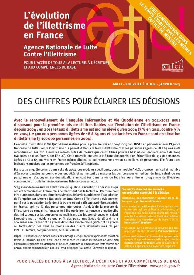 Anlci – NOUVELLE ÉDITION – JANVIER 2013des chiffres pour éclairer les décisionsAvec le renouvellement de l'enquête Informa...