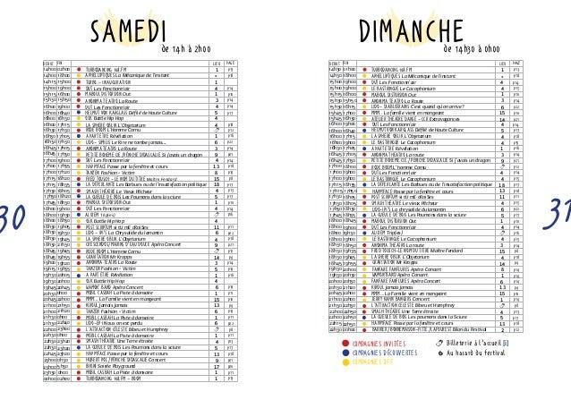 DIMANCHE  p14  p10  17h30 18h30 lido-ipi's La chrysalide du lamantin 6 p22  DUT Les Fonctionn'air  alixem Trip(es)  Anonim...