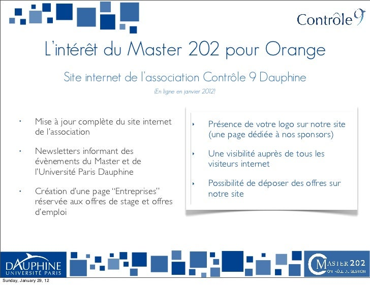 L'intérêt du Master 202 pour Orange                         Site internet de l'association Contrôle 9 Dauphine            ...