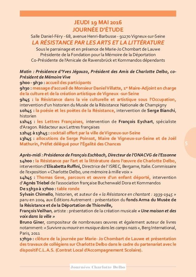 Plaquette De Présentation Des Journées Charlotte Delbo 2016