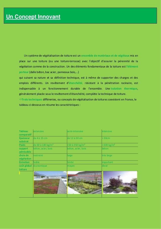 Trois types de végétalisation     Végétalisation extensive                         C'est une solution récente (années 80) ...