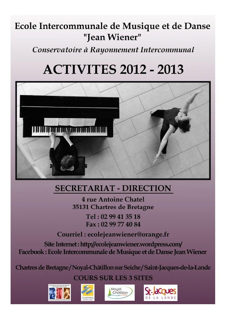 Plaquette EIMD - Activités 2012/2013