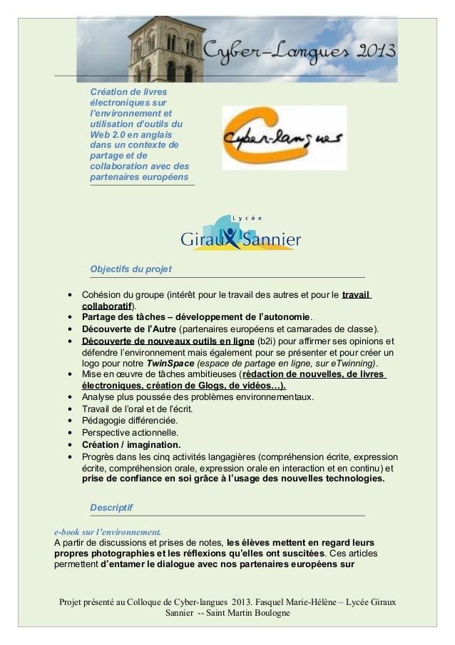 Création de livresélectroniques surl'environnement etutilisation d'outils duWeb 2.0 en anglaisdans un contexte departage e...