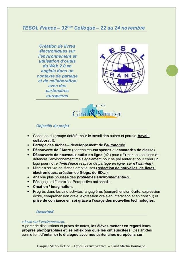 1 TESOL France – 32ème Colloque – 22 au 24 novembre Création de livres électroniques sur l'environnement et utilisation d'...