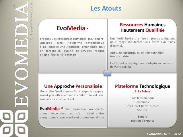 Les AtoutsEvoMedia ® offre              Un personnel de qualité, fidèle et disponible!              Une formation interne ...