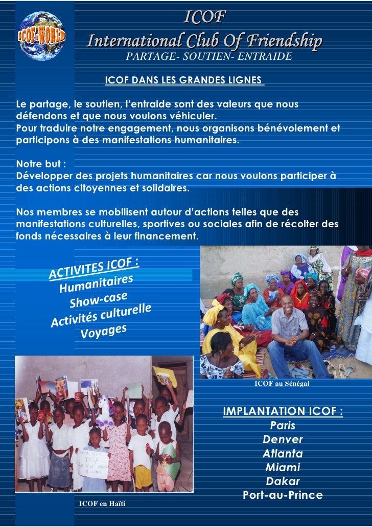 ICOF                International Club Of Friendship                              PARTAGE- SOUTIEN- ENTRAIDE              ...