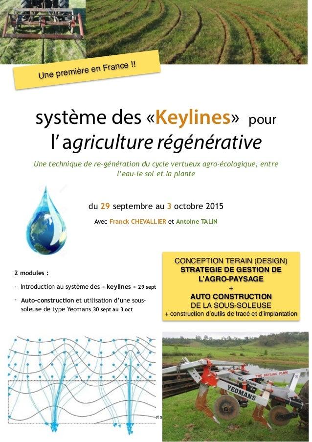 ! système des «Keylines» pour l'agriculture régénérative Une technique de re-génération du cycle vertueux agro-écologique,...
