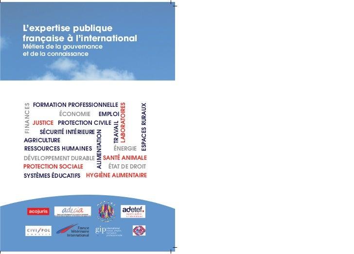 L'expertise publiquefrançaise à l'internationalMétiers de la gouvernanceet de la connaissance           FORMATION PROFESSI...