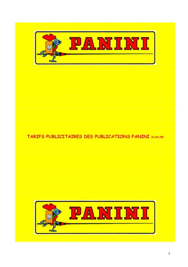 TARIFS PUBLICITAIRES DES PUBLICATIONS PANINI   01/01/05                                                          1