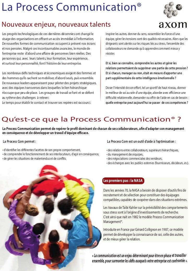 La Process Communication®Nouveaux enjeux, nouveaux talentsLes progrès technologiques de ces dernières décennies ont changé...