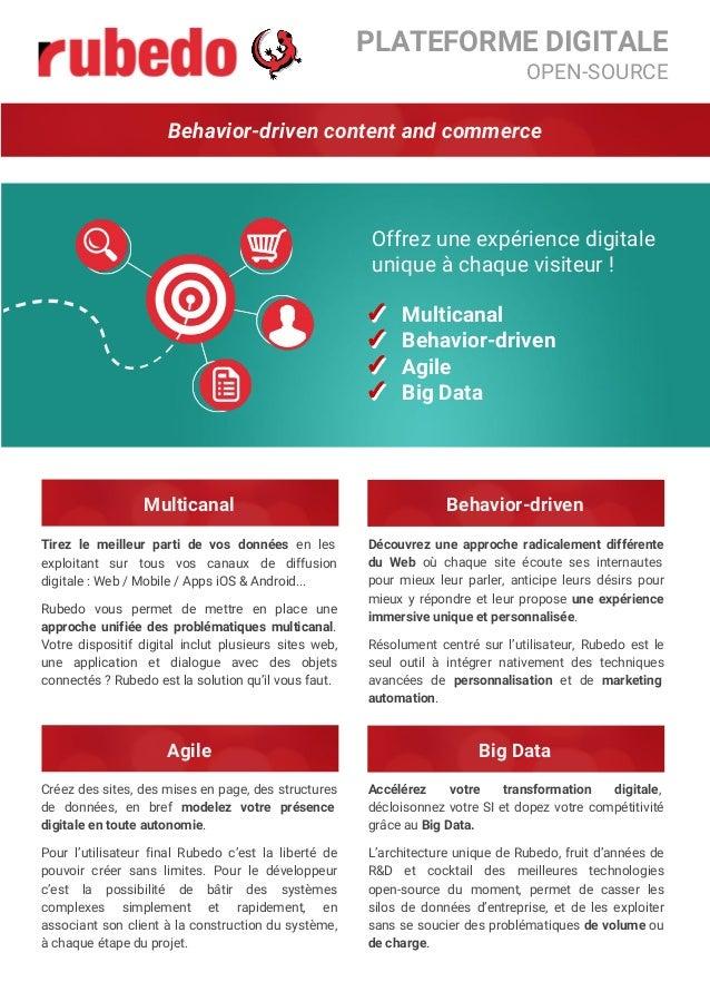 PLATEFORME DIGITALE OPEN-SOURCE Behavior-driven content and commerce ✓ Multicanal ✓ Behavior-driven ✓ Agile ✓ Big Data ✓ ✓...