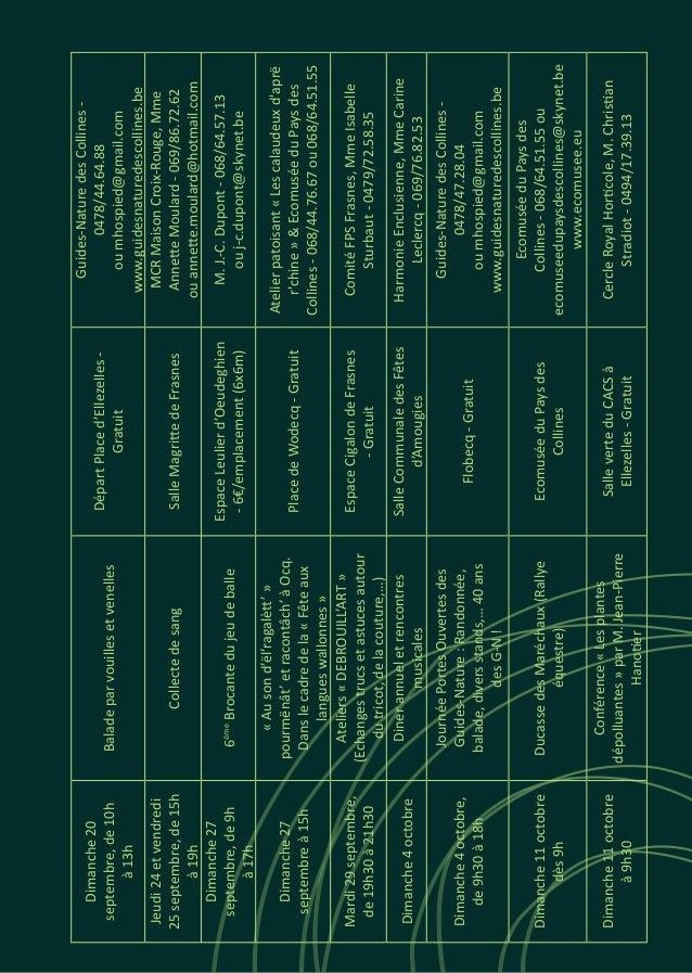 Dimanche20 septembre,de10h à13h Baladeparvouillesetvenelles DépartPlaced'Ellezelles- Gratuit Guides-NaturedesCollines- 047...