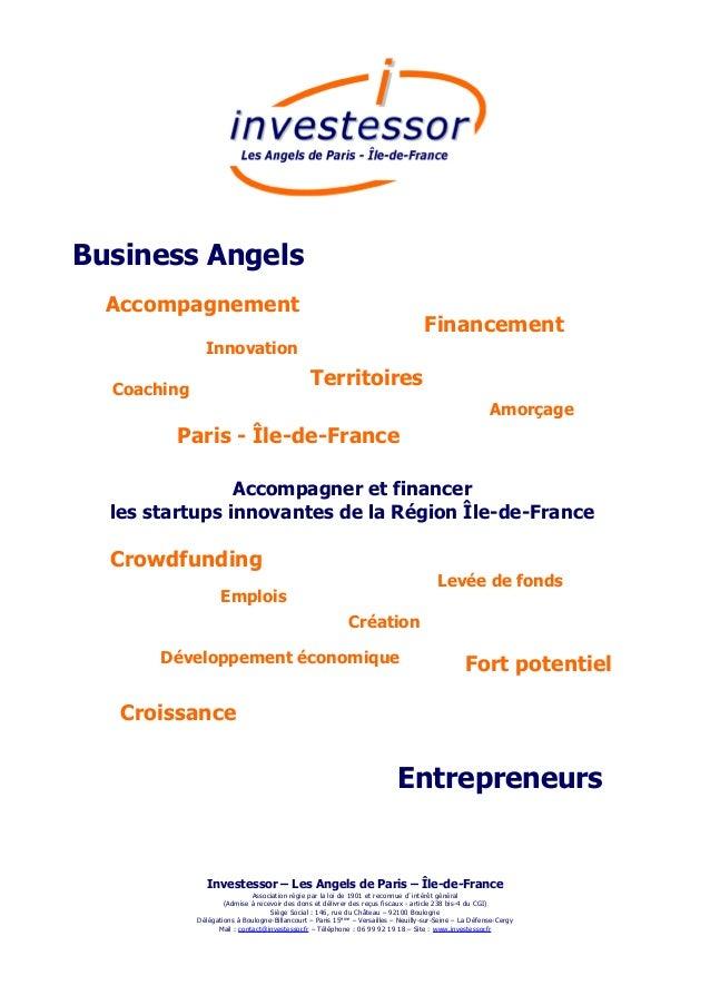 Emplois Accompagner et financer les startups innovantes de la Région Île-de-France Business Angels Paris - Île-de-France F...