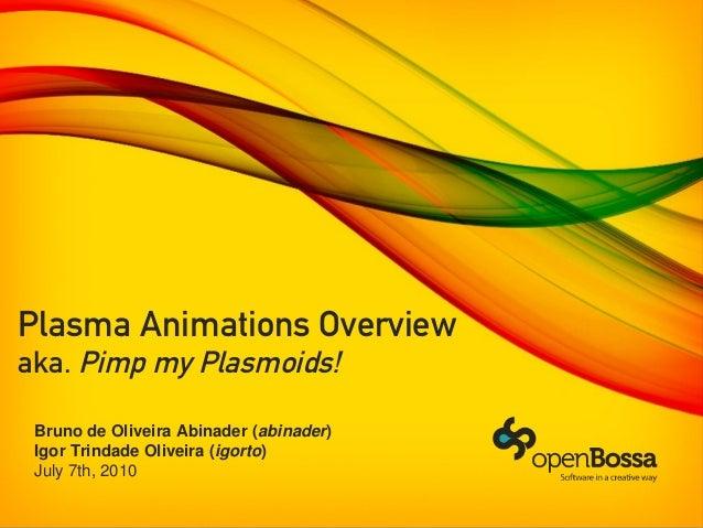 Plasma Animations Overviewaka. Pimp my Plasmoids!Bruno de Oliveira Abinader (abinader)Igor Trindade Oliveira (igorto)July ...