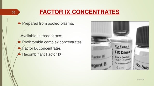 FACTOR IX CONCENTRATES  Prepared from pooled plasma. Available in three forms:  Prothrombin complex concentrates  Facto...